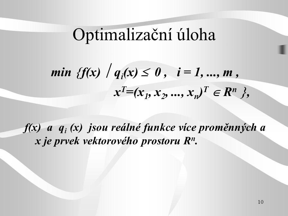 Optimalizační úloha min f(x)  qi(x)  0 , i = 1, ..., m ,