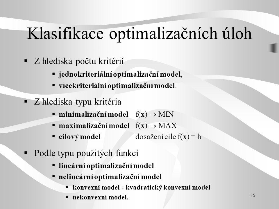 Klasifikace optimalizačních úloh