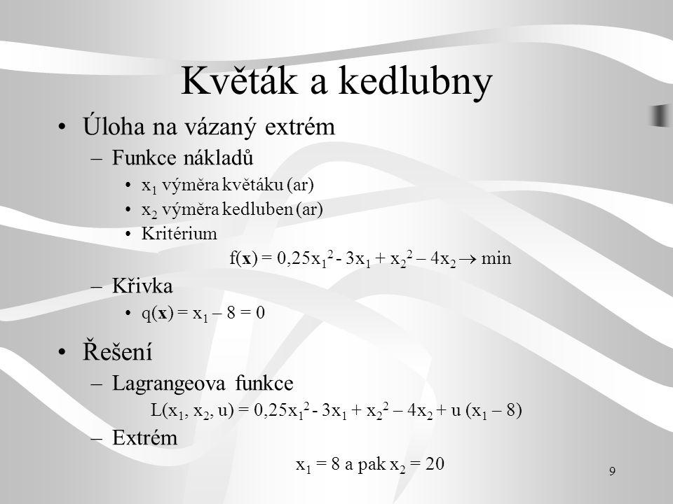 L(x1, x2, u) = 0,25x12 - 3x1 + x22 – 4x2 + u (x1 – 8)