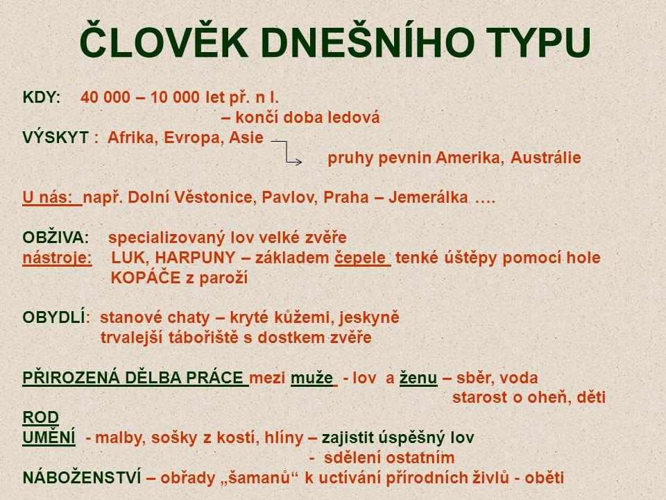 ČLOVĚK DNEŠNÍHO TYPU KDY: 40 000 – 10 000 let př. n l.