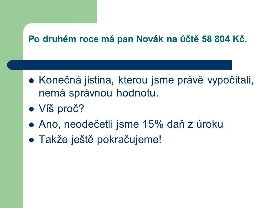 Po druhém roce má pan Novák na účtě 58 804 Kč.