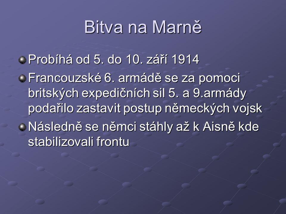 Bitva na Marně Probíhá od 5. do 10. září 1914