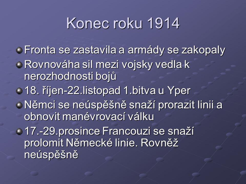Konec roku 1914 Fronta se zastavila a armády se zakopaly