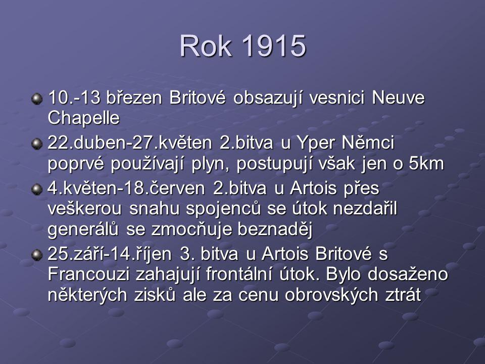 Rok 1915 10.-13 březen Britové obsazují vesnici Neuve Chapelle