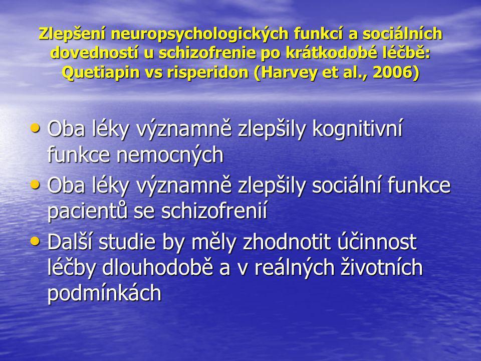 Oba léky významně zlepšily kognitivní funkce nemocných