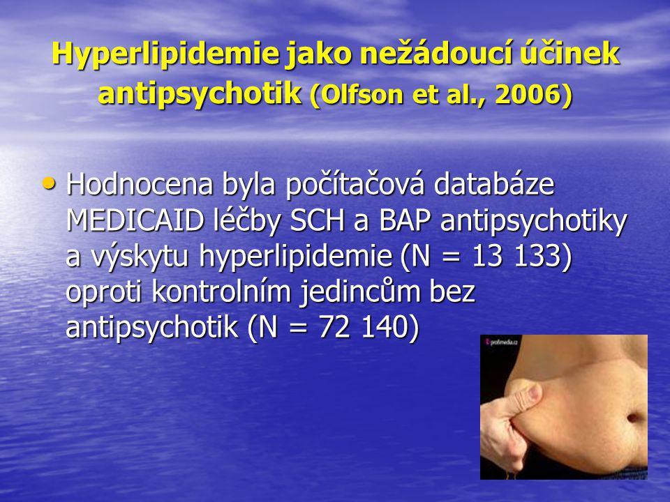 Hyperlipidemie jako nežádoucí účinek antipsychotik (Olfson et al