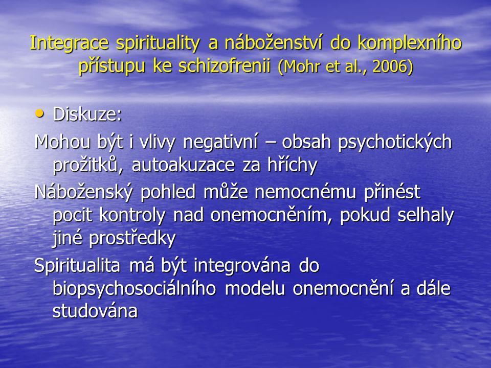 Integrace spirituality a náboženství do komplexního přístupu ke schizofrenii (Mohr et al., 2006)