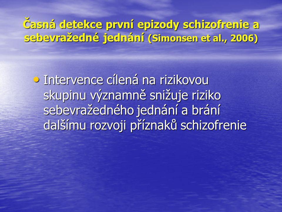 Časná detekce první epizody schizofrenie a sebevražedné jednání (Simonsen et al., 2006)