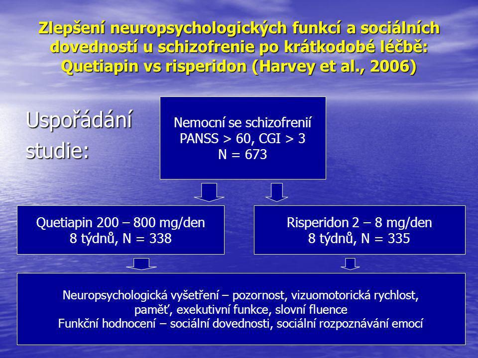 Zlepšení neuropsychologických funkcí a sociálních dovedností u schizofrenie po krátkodobé léčbě: Quetiapin vs risperidon (Harvey et al., 2006)