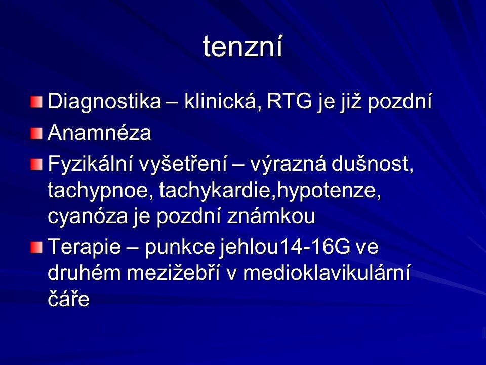 tenzní Diagnostika – klinická, RTG je již pozdní Anamnéza