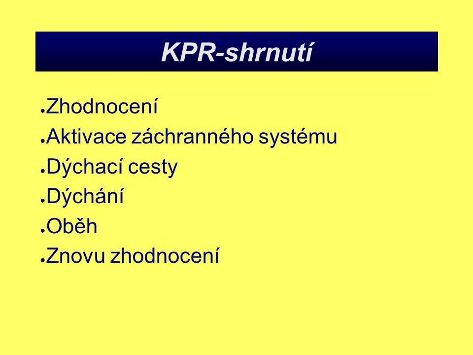 KPR-shrnutí Zhodnocení Aktivace záchranného systému Dýchací cesty