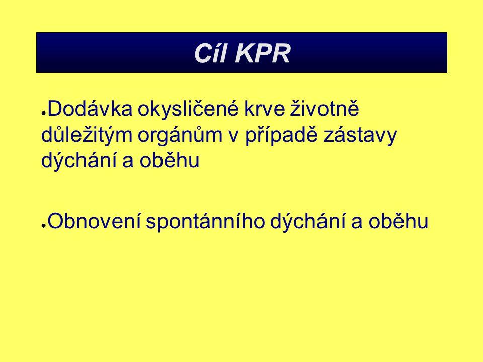 Cíl KPR Dodávka okysličené krve životně důležitým orgánům v případě zástavy dýchání a oběhu.
