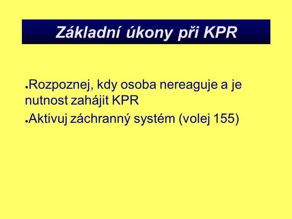 Základní úkony při KPR Rozpoznej, kdy osoba nereaguje a je nutnost zahájit KPR.