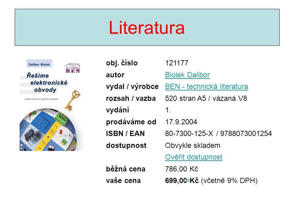Literatura obj. číslo 121177 autor Biolek Dalibor vydal / výrobce