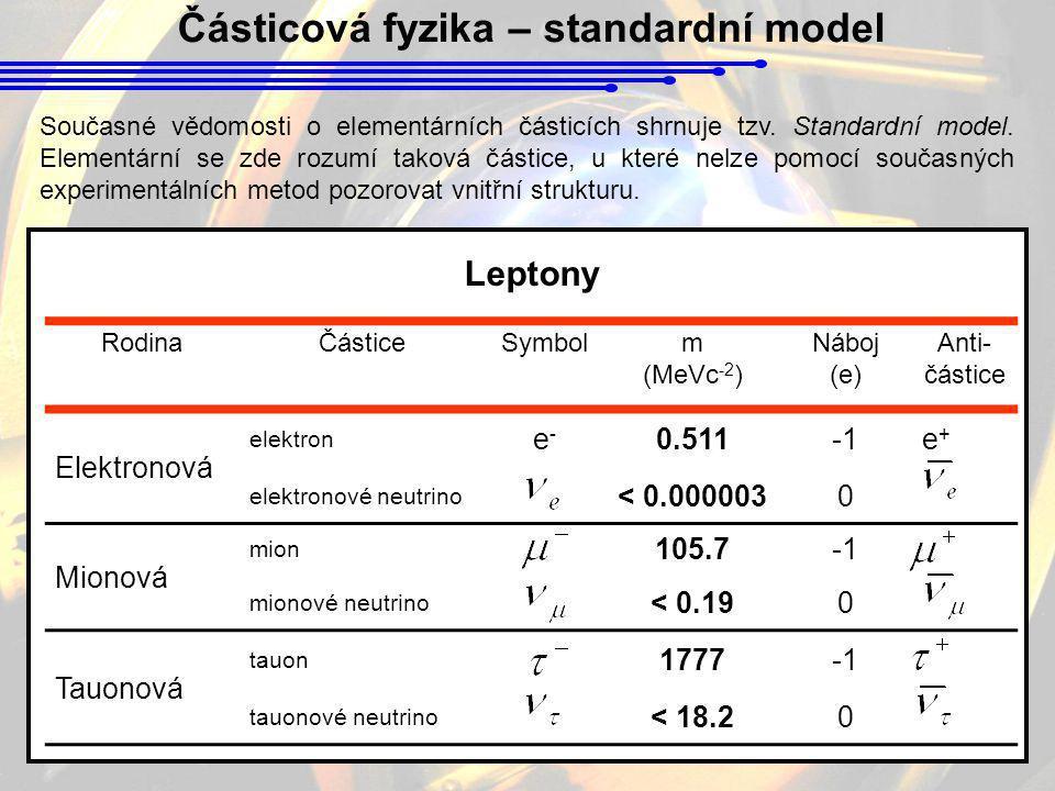 Částicová fyzika – standardní model
