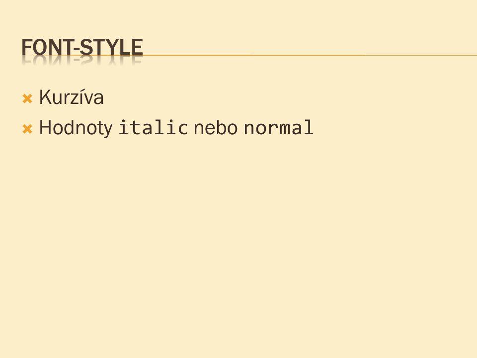 Font-style Kurzíva Hodnoty italic nebo normal
