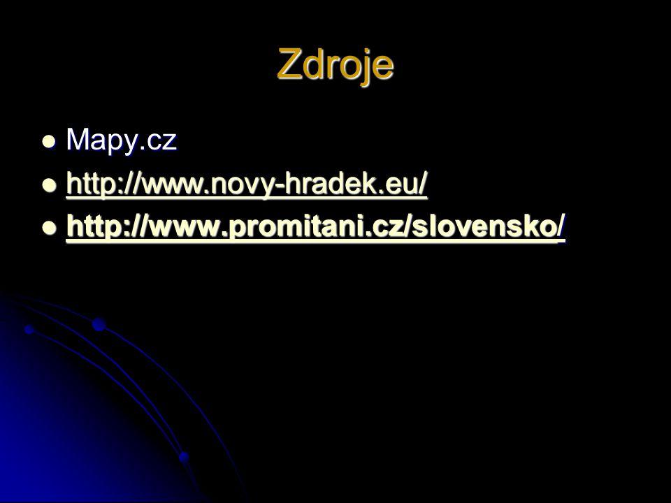Zdroje Mapy.cz http://www.novy-hradek.eu/