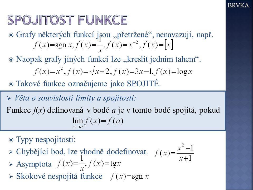 """BRVKA Spojitost funkce. Grafy některých funkcí jsou """"přetržené , nenavazují, např. Naopak grafy jiných funkcí lze """"kreslit jedním tahem ."""