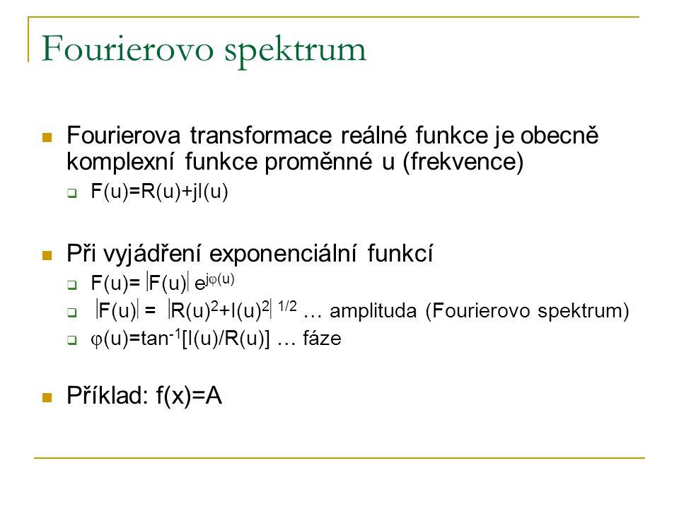 Fourierovo spektrum Fourierova transformace reálné funkce je obecně komplexní funkce proměnné u (frekvence)