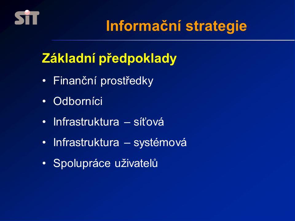 Informační strategie Základní předpoklady Finanční prostředky