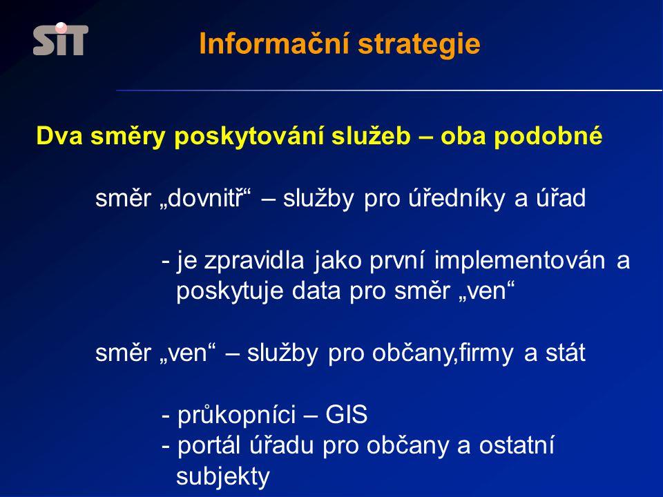 Informační strategie Dva směry poskytování služeb – oba podobné