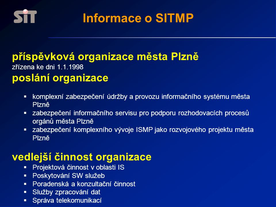 Informace o SITMP příspěvková organizace města Plzně