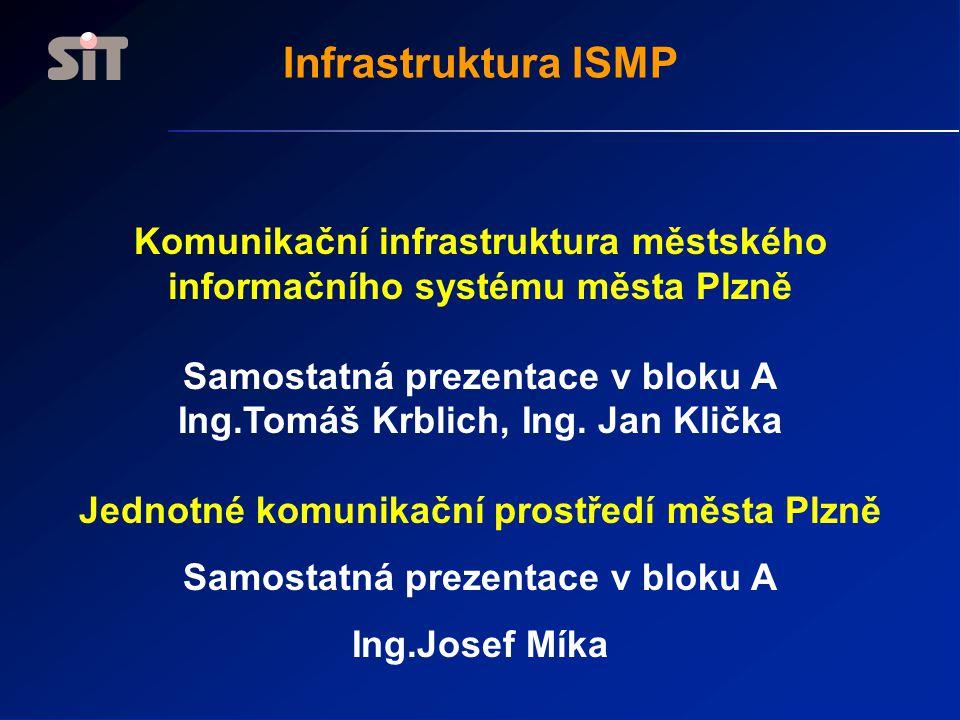 Infrastruktura ISMP Komunikační infrastruktura městského informačního systému města Plzně. Samostatná prezentace v bloku A.