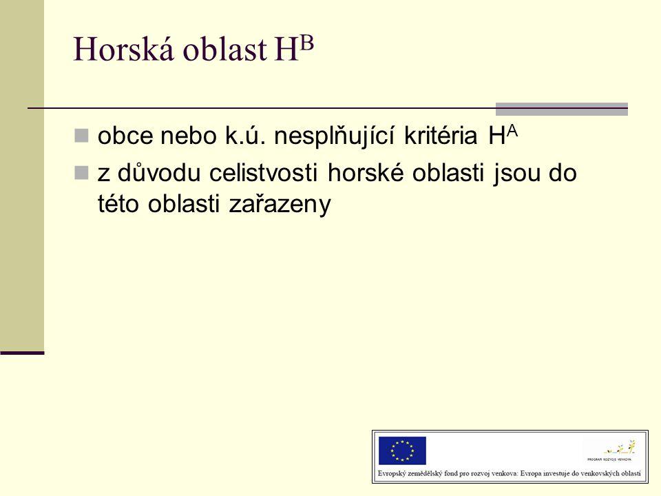 Horská oblast HB obce nebo k.ú. nesplňující kritéria HA