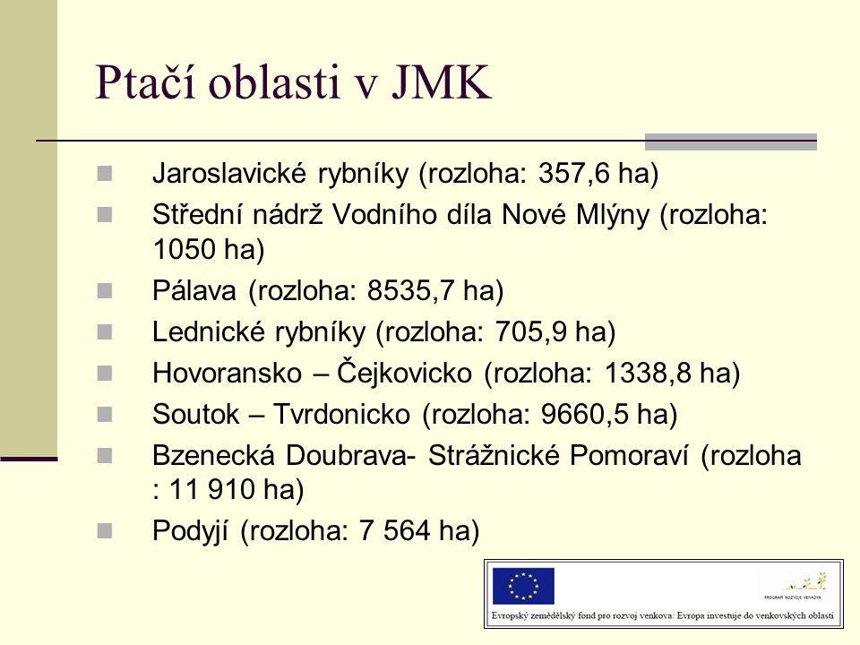 Ptačí oblasti v JMK Jaroslavické rybníky (rozloha: 357,6 ha)