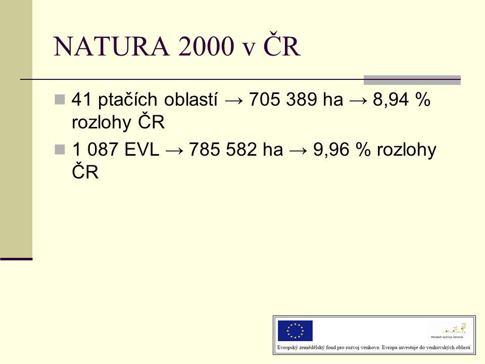 NATURA 2000 v ČR 41 ptačích oblastí → 705 389 ha → 8,94 % rozlohy ČR