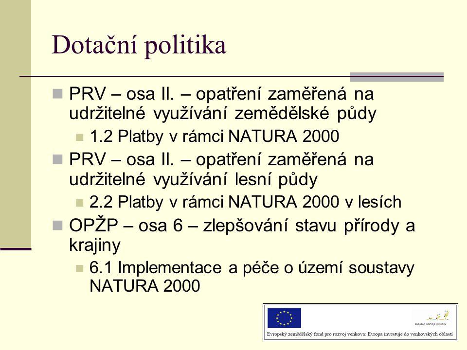 Dotační politika PRV – osa II. – opatření zaměřená na udržitelné využívání zemědělské půdy. 1.2 Platby v rámci NATURA 2000.