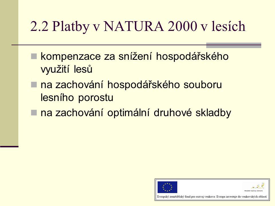 2.2 Platby v NATURA 2000 v lesích