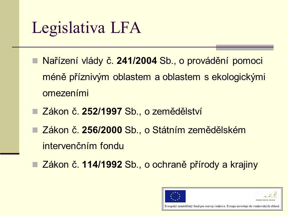 Legislativa LFA Nařízení vlády č. 241/2004 Sb., o provádění pomoci méně příznivým oblastem a oblastem s ekologickými omezeními.