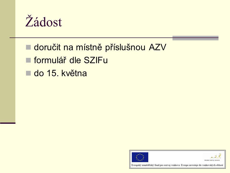 Žádost doručit na místně příslušnou AZV formulář dle SZIFu