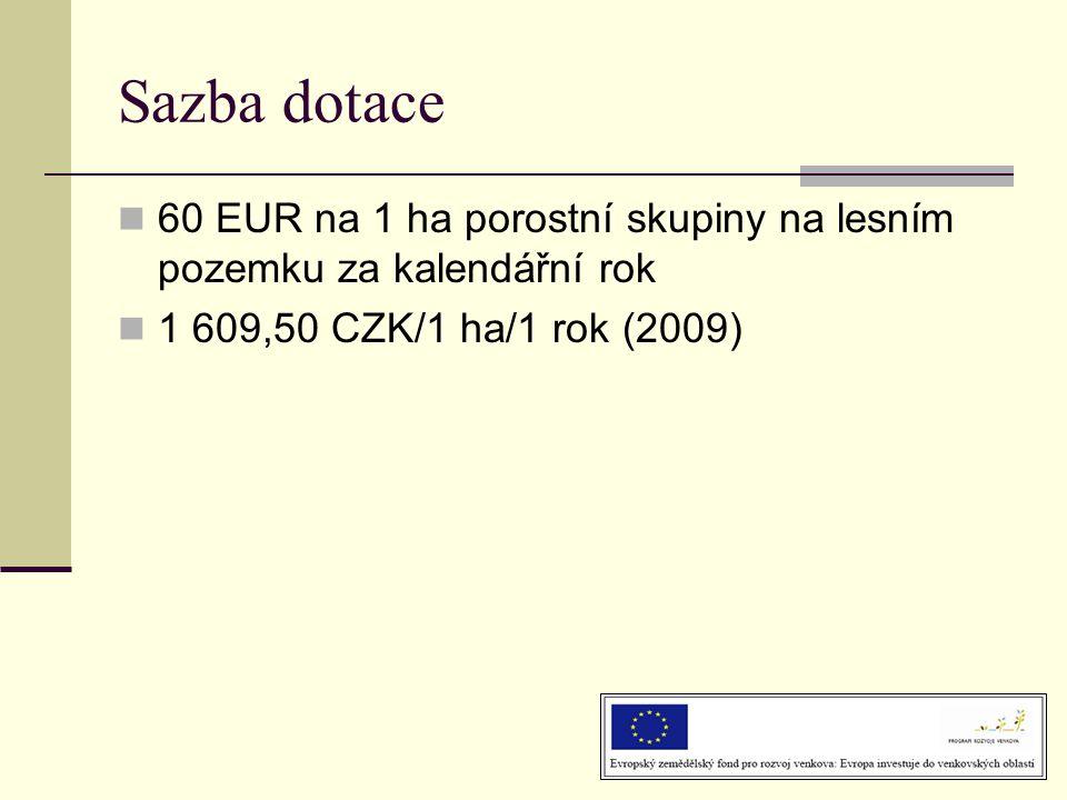 Sazba dotace 60 EUR na 1 ha porostní skupiny na lesním pozemku za kalendářní rok.