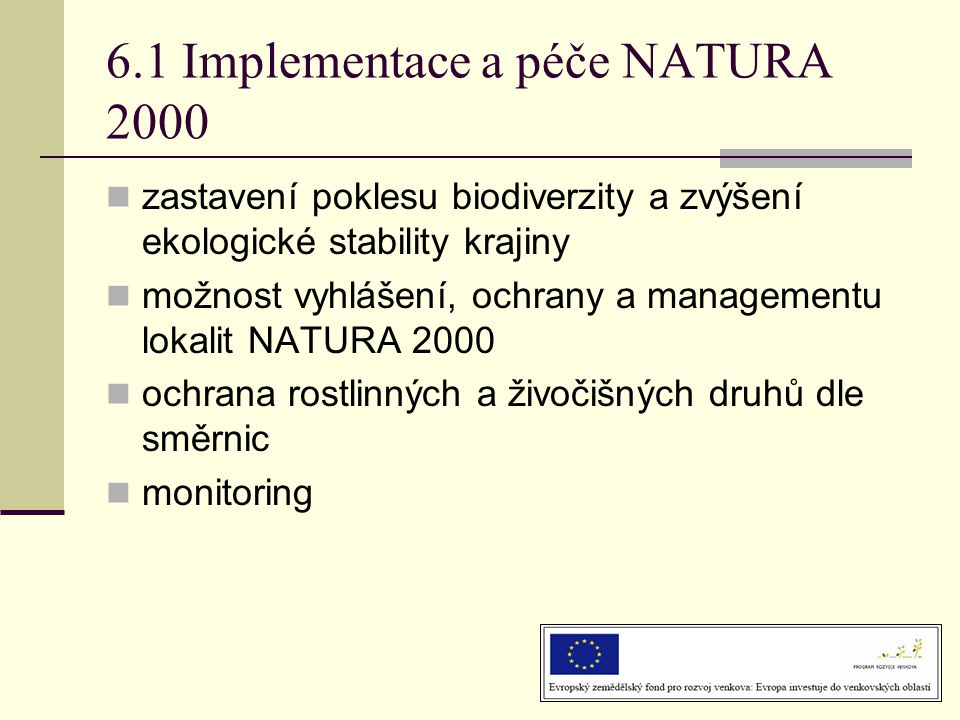 6.1 Implementace a péče NATURA 2000