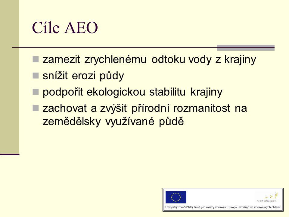 Cíle AEO zamezit zrychlenému odtoku vody z krajiny snížit erozi půdy