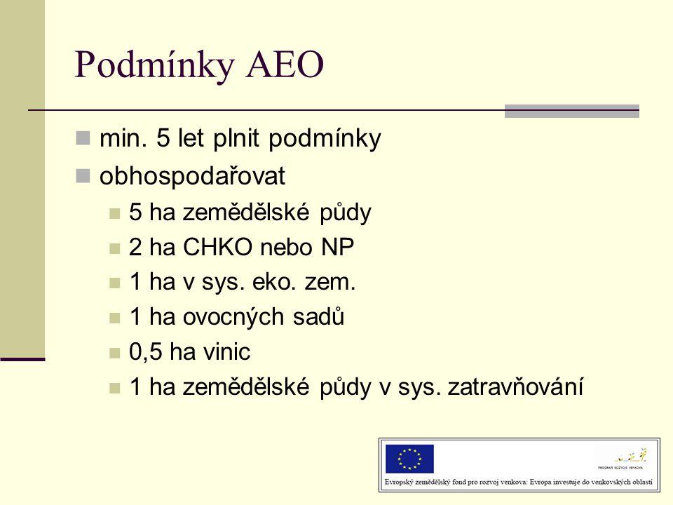 Podmínky AEO min. 5 let plnit podmínky obhospodařovat