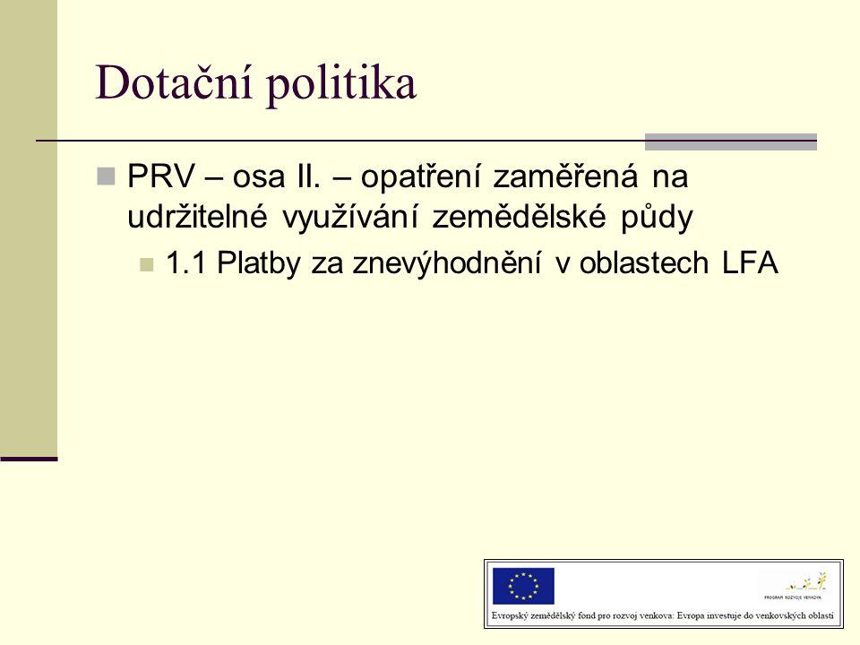 Dotační politika PRV – osa II. – opatření zaměřená na udržitelné využívání zemědělské půdy.
