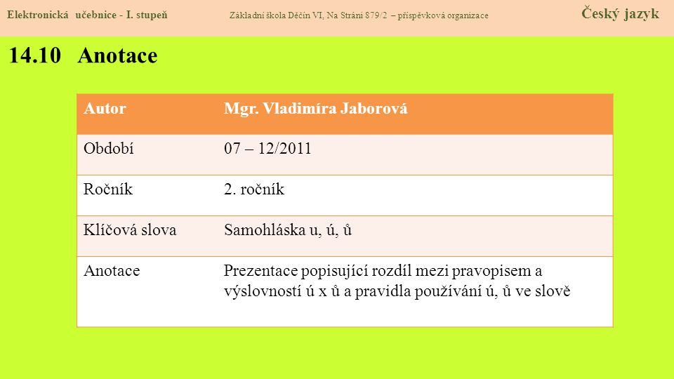 14.10 Anotace Autor Mgr. Vladimíra Jaborová Období 07 – 12/2011 Ročník