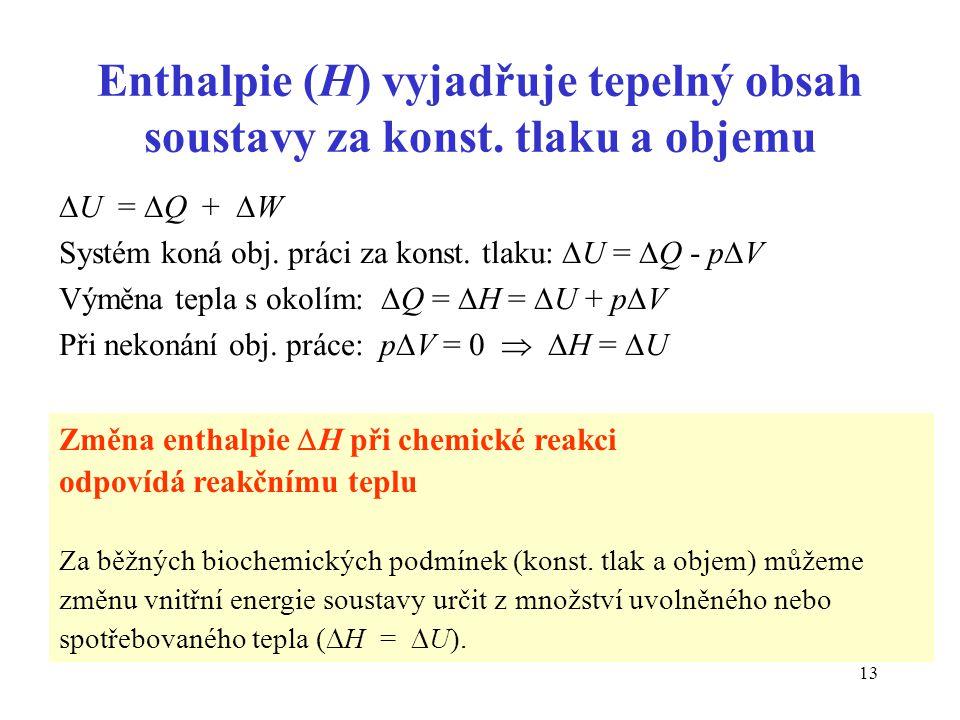 Enthalpie (H) vyjadřuje tepelný obsah soustavy za konst. tlaku a objemu