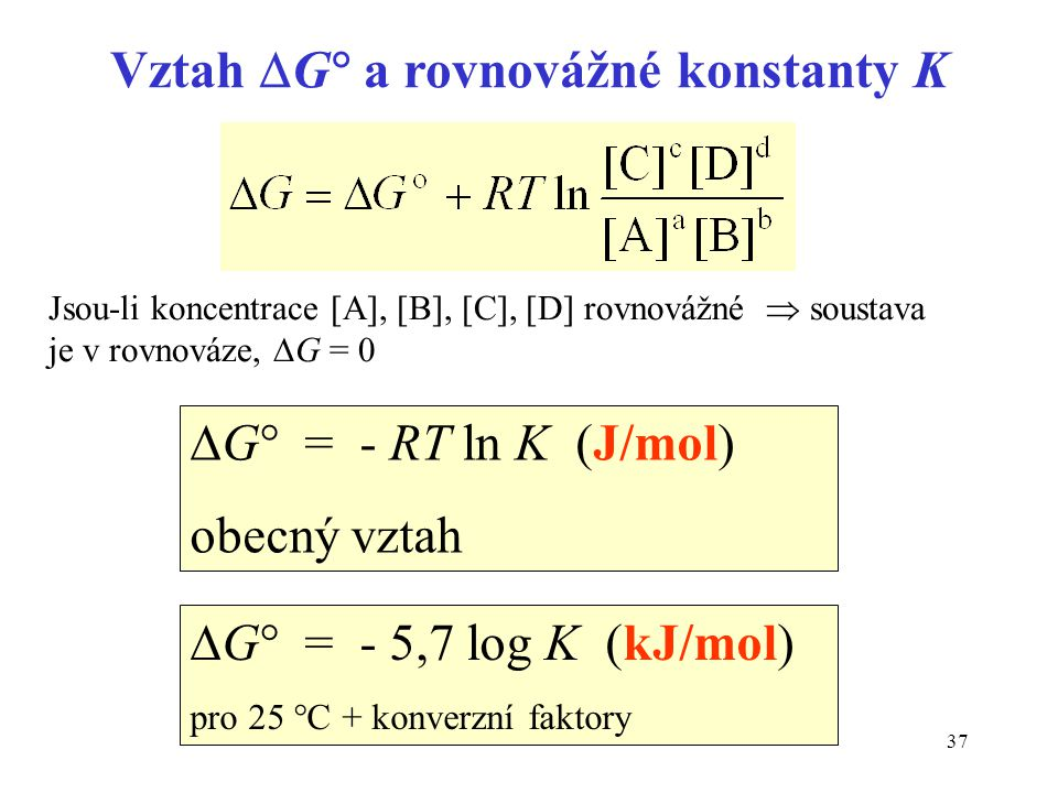 Vztah G a rovnovážné konstanty K