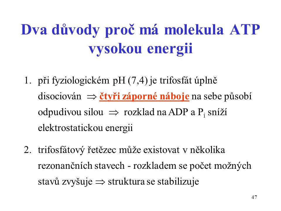 Dva důvody proč má molekula ATP vysokou energii