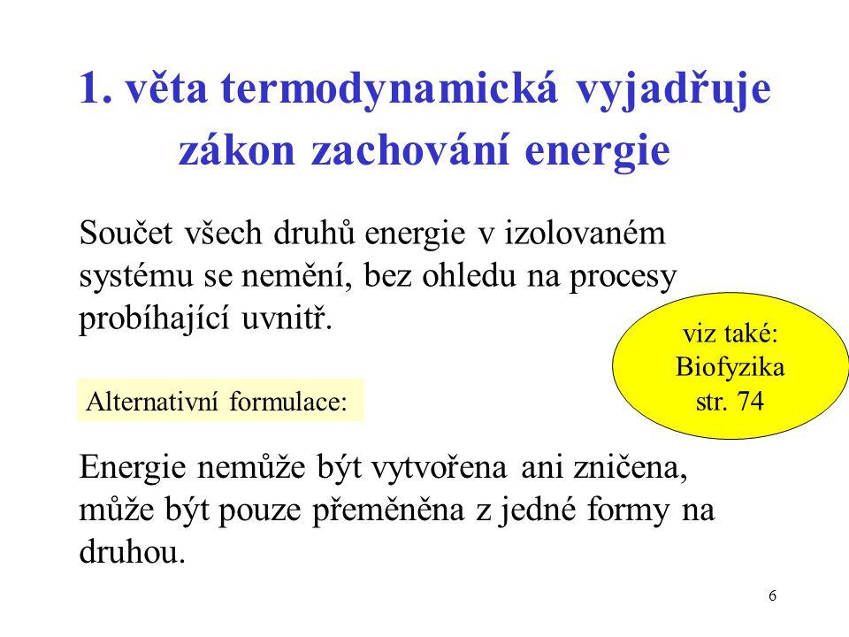 1. věta termodynamická vyjadřuje zákon zachování energie