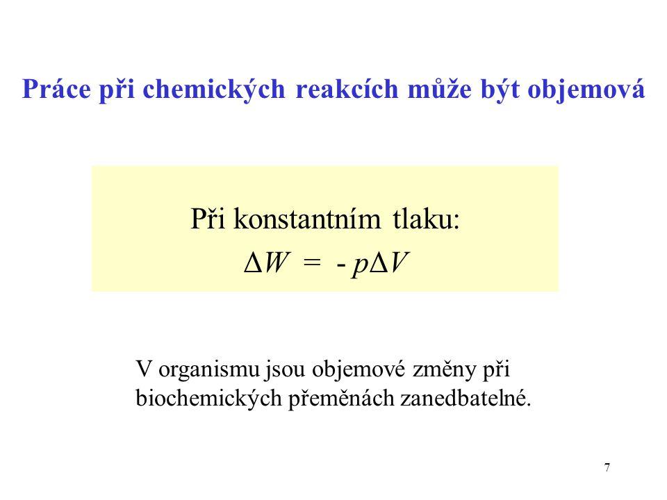 Práce při chemických reakcích může být objemová