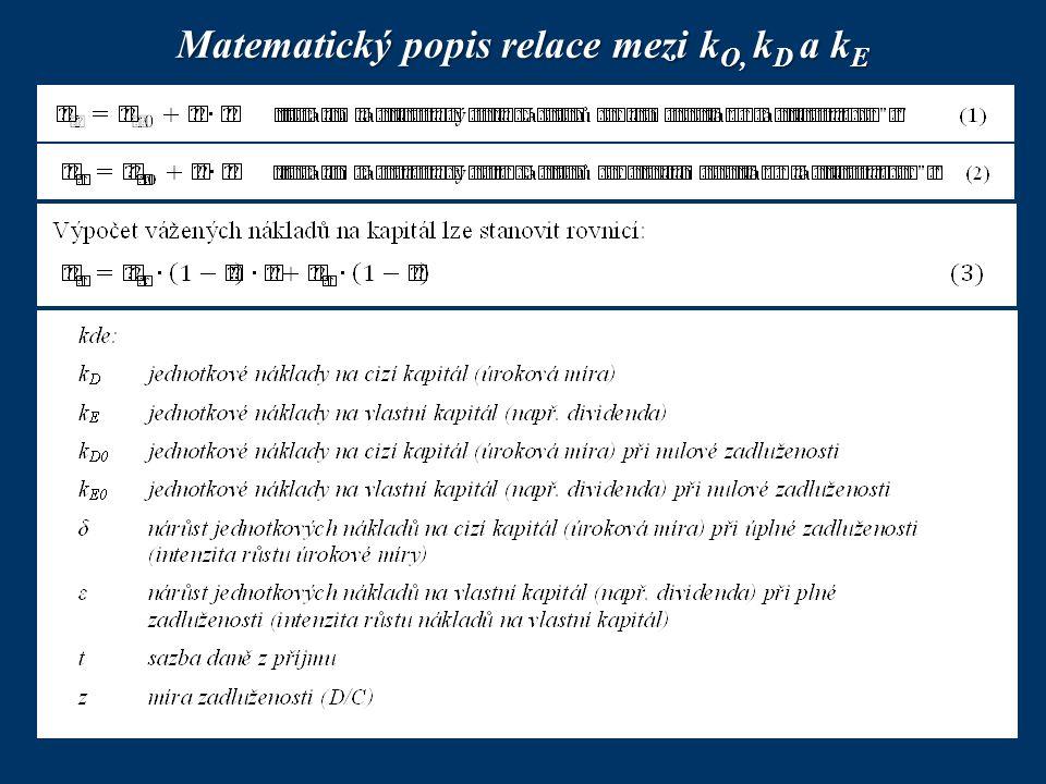 Matematický popis relace mezi kO, kD a kE