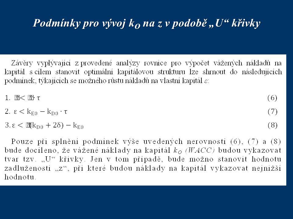 """Podmínky pro vývoj kO na z v podobě """"U křivky"""