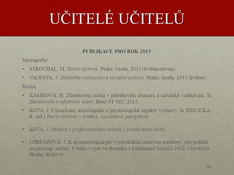 UČITELÉ UČITELŮ PUBLIKACE PRO ROK 2013 Monografie: