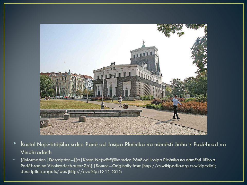 kostel Nejsvětějšího srdce Páně od Josipa Plečnika na náměstí Jiřího z Poděbrad na Vinohradech