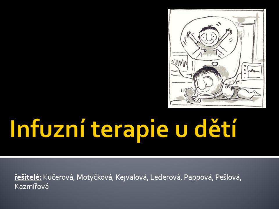 Infuzní terapie u dětí řešitelé: Kučerová, Motyčková, Kejvalová, Lederová, Pappová, Pešlová, Kazmířová.